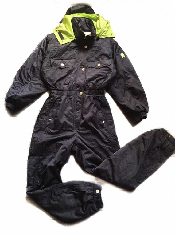 Rare 90s vintage ski coverall suit/black ski suit