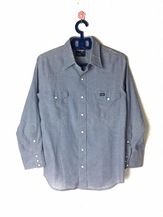 Vintage Fringe Denim Shirt size Medium M Men 80s Blue Jeans Shirt Chambray Shirt 90s Western Shirt Cowboy Shirt