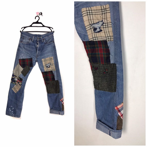 Levis 501 big e patchwork handcrafted distressed d