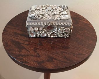 Sparkling Silver Wooden Box Gift Covered in Rhinestone Jewelry