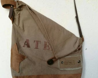 Vintage linen/cotton canvas and suede shoulder bag, can be worn two ways