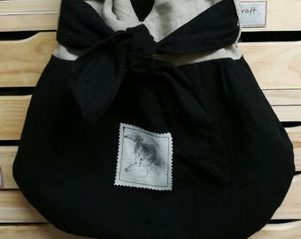 Bag linen and cotton bow and cat print