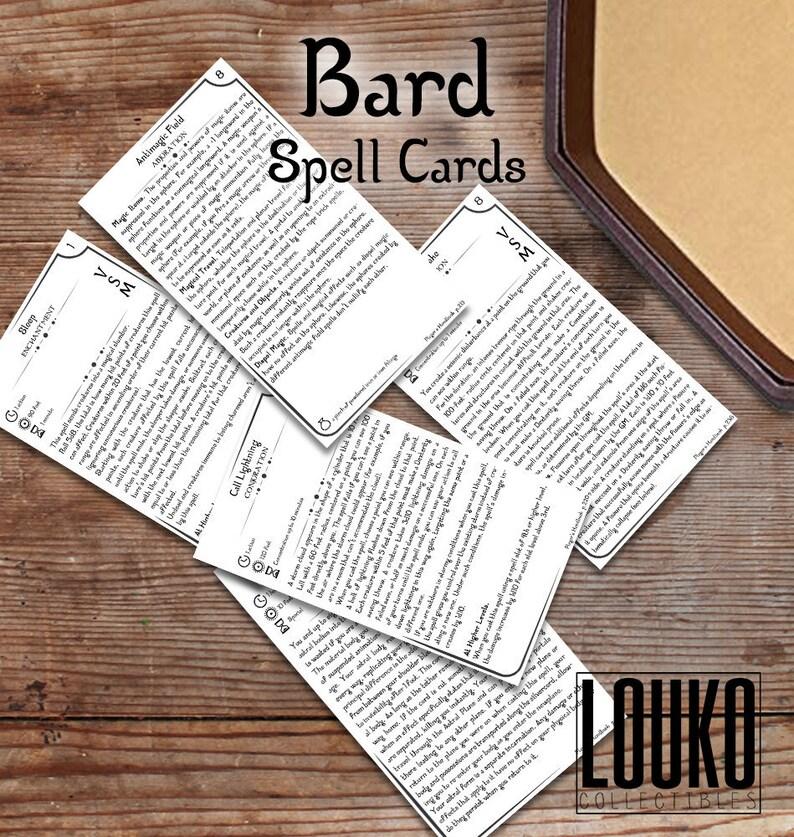 Custom Bard Spell Cards - DnD 5e