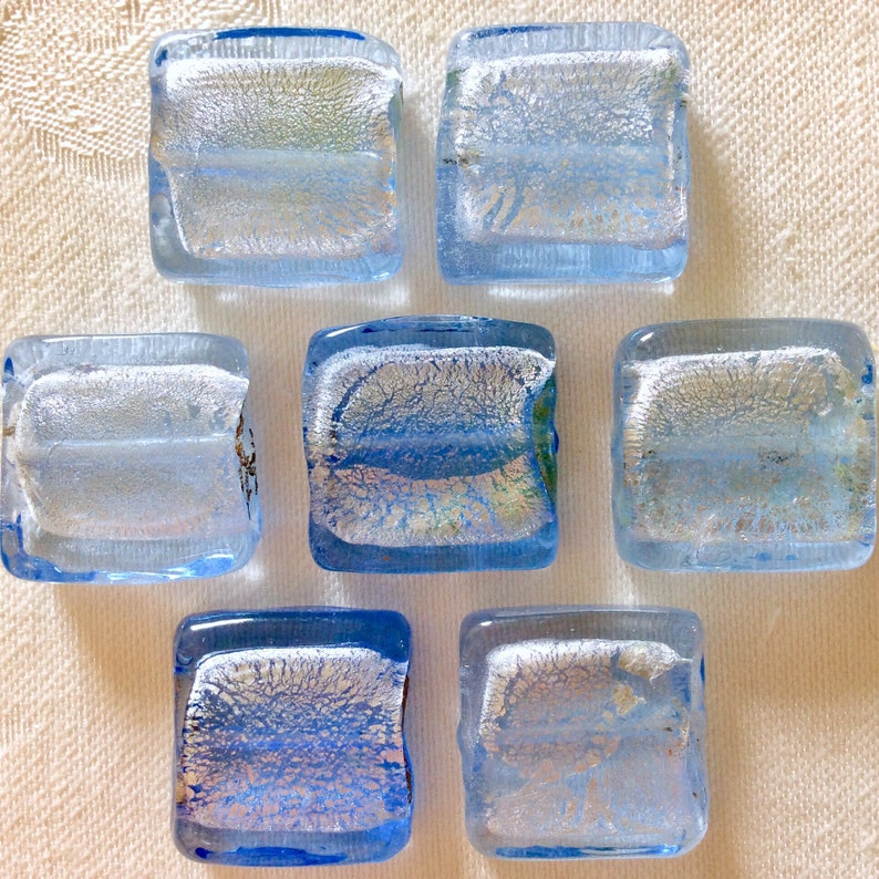 Vintage Lot 7 Dichroic Fused Art Glass Beads Ocean Sky Topaz Blue over Iridescent Silver