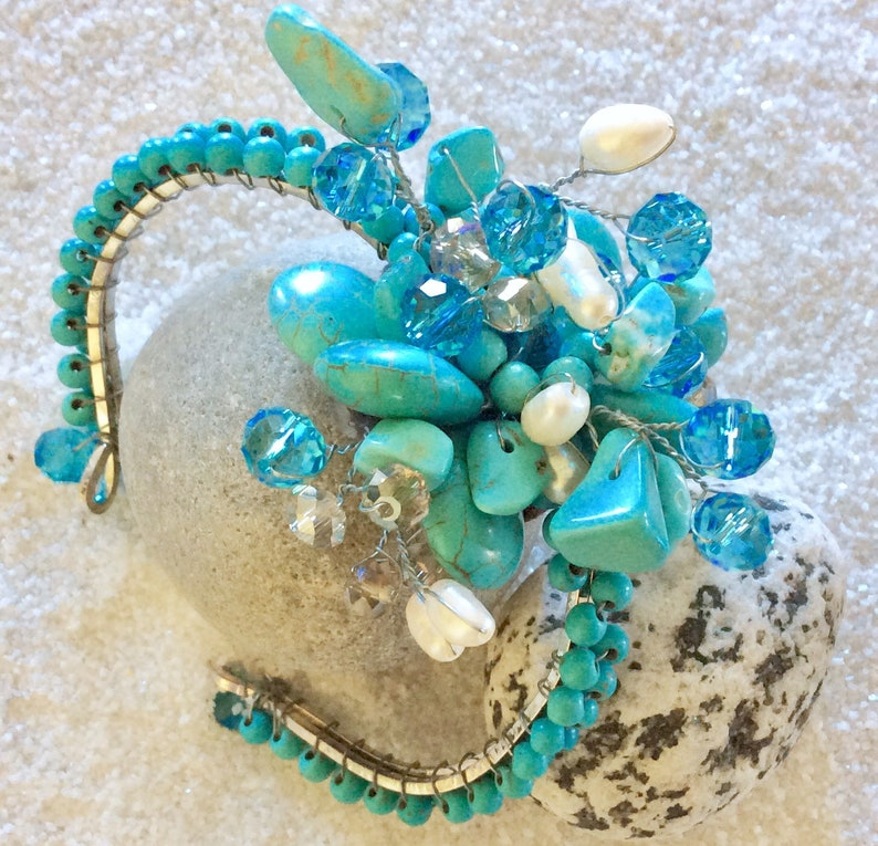 Fresh Water Pearls Blue Topaz Vintage Howlite Turquoise Bead Cuff Bangle Exotic Bridal