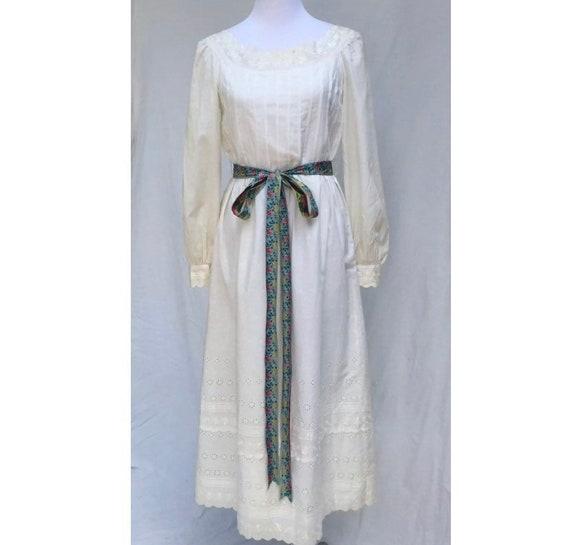 Tina Leser Orginal Vintage 70's White Peasant Dres