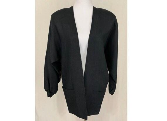 1980's Vintage Flora Kung Black Linen Oversized Bl