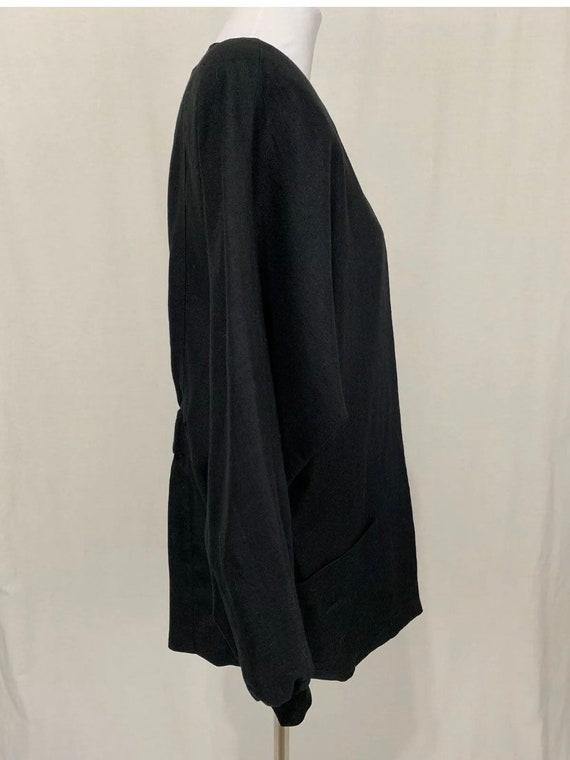 1980's Vintage Flora Kung Black Linen Oversized B… - image 7