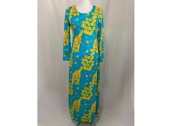 Vintage Maxi Dress Floral Nylon Beach Wear - Vanda