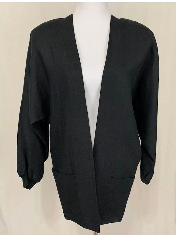1980's Vintage Flora Kung Black Linen Oversized B… - image 2
