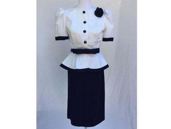 Vintage Raul Blanco Skirt Suit Navy & White Peplum