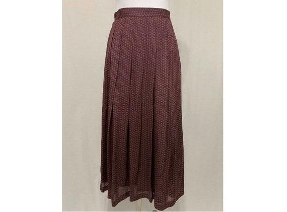 1980's Vintage Flora Kung Pleated Silk Midi Skirt