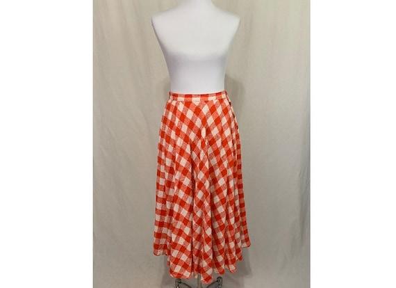 Vintage Oleg Cassini Red Gingham Full Midi Skirt