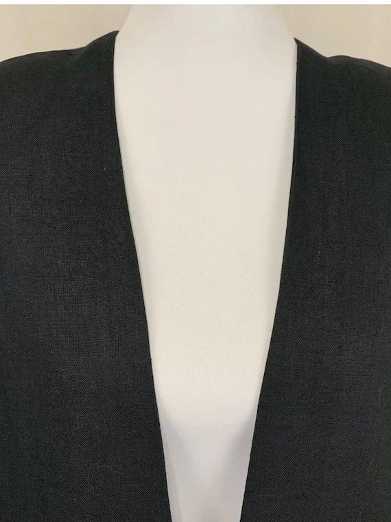 1980's Vintage Flora Kung Black Linen Oversized B… - image 5