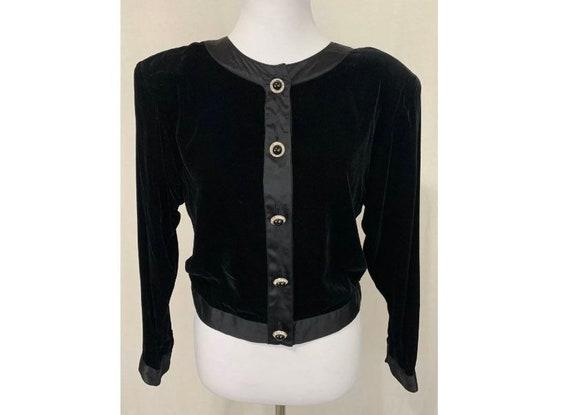 1980's Vintage Black Velvet Jacket by Flora Kung