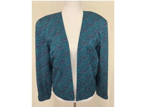 1980's Vintage Flora Kung Silk Cropped Jacket Blaz