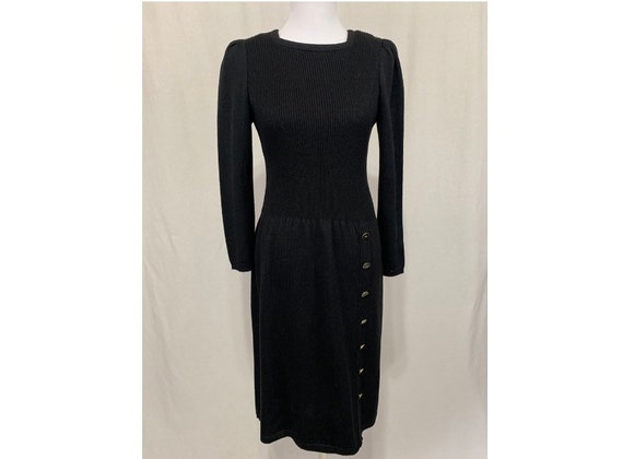 Vintage Black Knit Dress Square Neck Side Button S