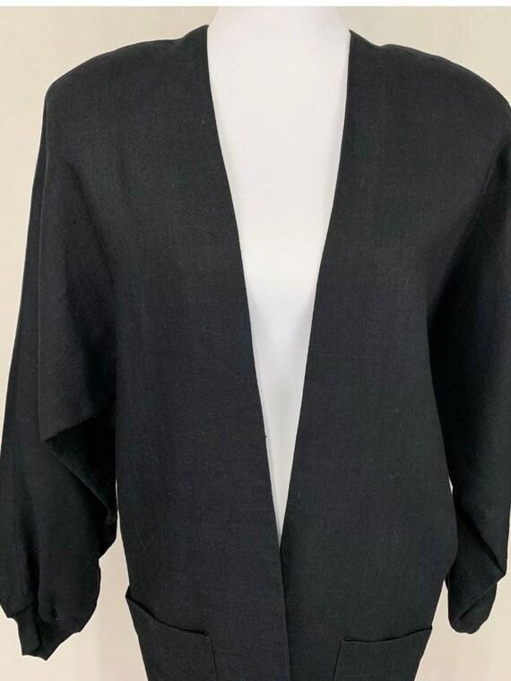 1980's Vintage Flora Kung Black Linen Oversized B… - image 4
