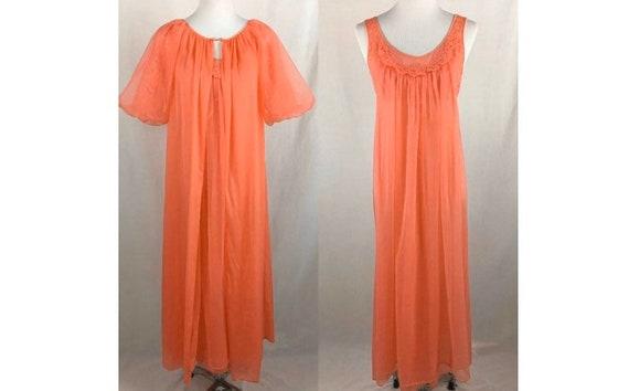 Vintage 1970's Vanity Fair Tangerine Chiffon Peign