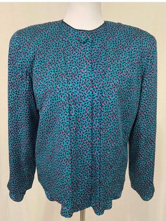 1980's Vintage Flora Kung Silk Cropped Jacket Bla… - image 10