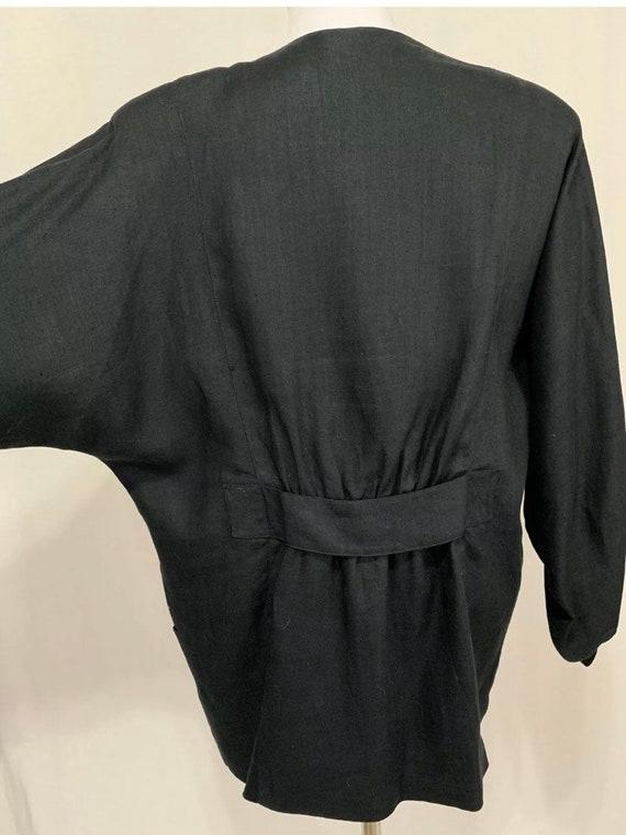 1980's Vintage Flora Kung Black Linen Oversized B… - image 9