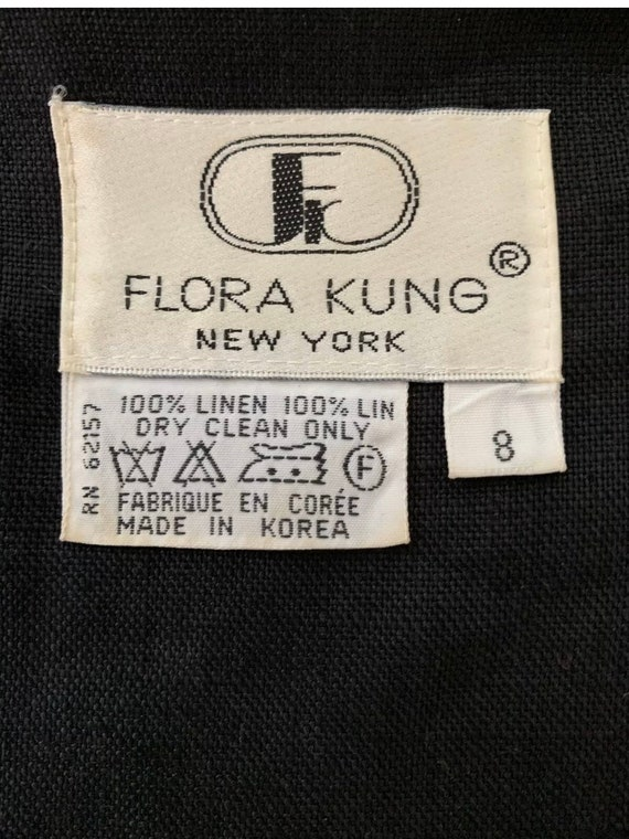 1980's Vintage Flora Kung Black Linen Oversized B… - image 10