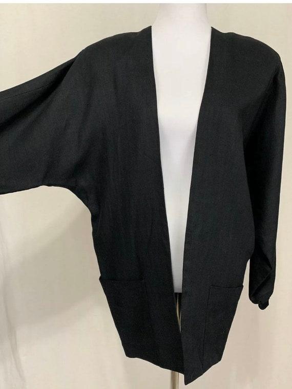 1980's Vintage Flora Kung Black Linen Oversized B… - image 3