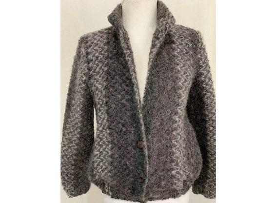Vintage 80's Fuzzy Mohair Sweater Jacket - Bijoux