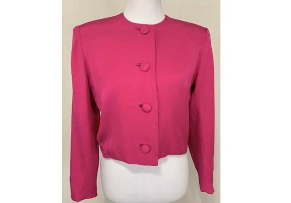 1980's Vintage Flor Kung Bright Pink Silk Jacket B