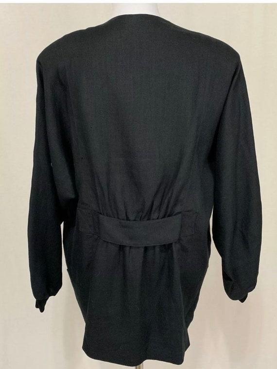 1980's Vintage Flora Kung Black Linen Oversized B… - image 8