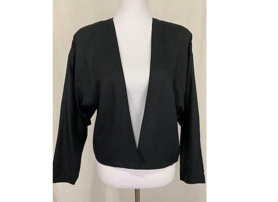 1980's Vintage Flora Kung Black Silk Jacket Oversi