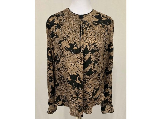 1980's Vintage Flora Kung Silk Blouse Black & Beig