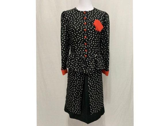 Vintage Polka Dot Matching Blouse & Skirt Set - Fi