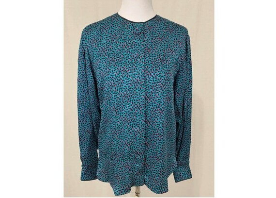 1980's Vintage Flora Kung Silk Blouse Turquoise &