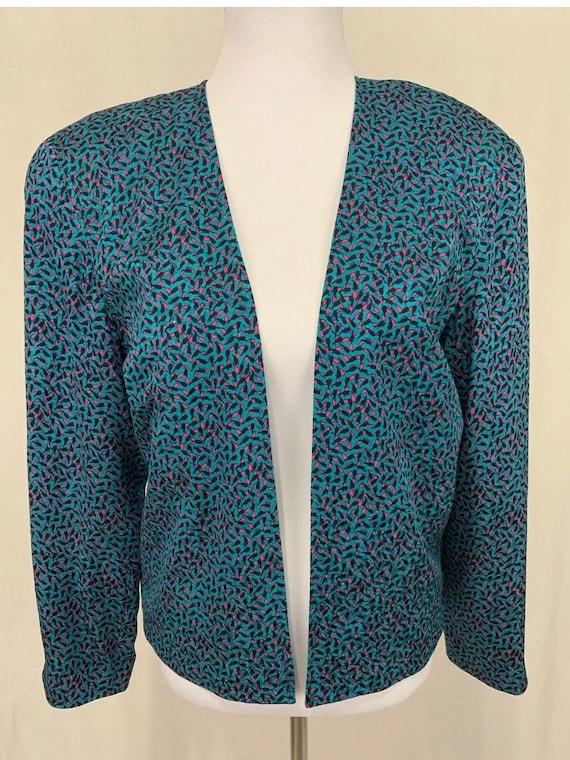1980's Vintage Flora Kung Silk Cropped Jacket Bla… - image 2