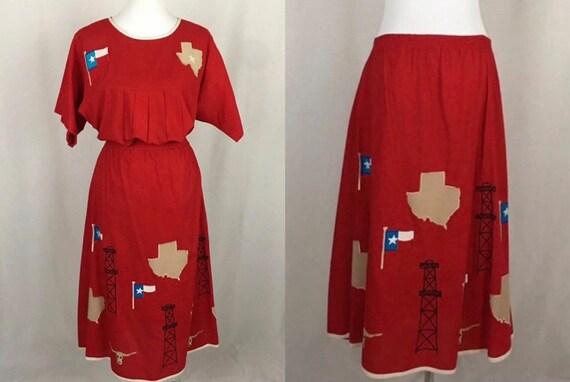 Vintage Texas Theme Skirt & Blouse Matching Set Ri