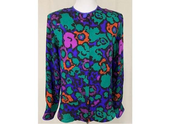 1980's Vintage Flora Kung Silk Blouse Bold Floral
