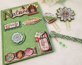 Altered composition book/journal/beads/Limegreen