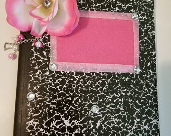 Altered composition book/journal/Pink Rose flower/charms