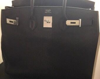 e5fd414e4e031 Leather Tote Handbag Birkin Inspired Silver Lock Key