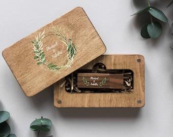 Wedding memory stick for photographer Custom USB case Linen USB box and USB flash drive