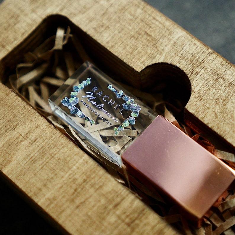 Crystal Glass USB with Wood USB Box print box