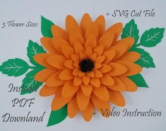 PDF and SVG Flower Template || DIY Paper Flower || Paper Petals || Home Decor || || Wedding Decor || Baby Shower Decor || #030