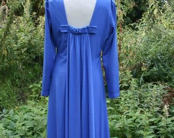 8d63cc8dee730 Vintage 70s cocktail dress, size 14/ 16, cobalt blue maxi dress by Carnegie  of London, superb back detail, large vintage evening gown