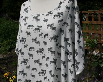 Zebra fabric OOAK summer top, handmade georgette t-shirt tunic, freesize, large, relaxed fit blouse, retro style lagenlook