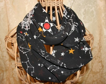 5d1e7c0d13c9e Constellations/ galaxy infinity scarf, sun and moon, planets chiffon scarf,  black night sky/ astronomy gift, handmade, new for 2019