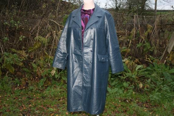 Plus size vintage PVC coat, blue vinyl Ascot Model