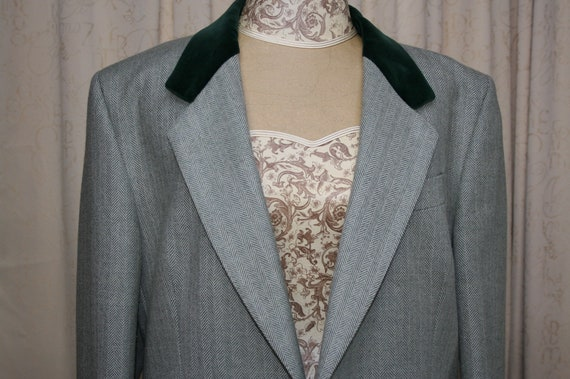 Austin Reed Green Wool Herringbone Jacket With Velvet Collar Etsy