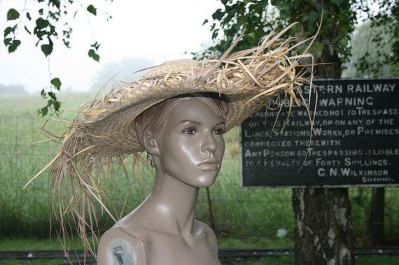Vintage straw hillbilly hat,unisex/ mans wide brim