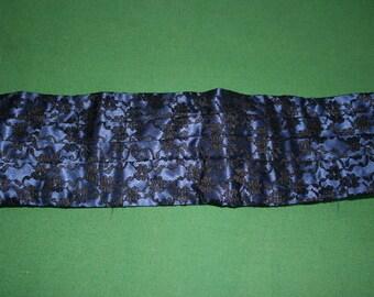 """Blue/ black vintage cummerbund, mans tuxedo belt/ evening accessories, waist 32"""" to 36"""""""